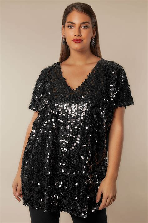 Email Delivery Visa Gift Card - black disc sequin cape top plus size 16 to 32