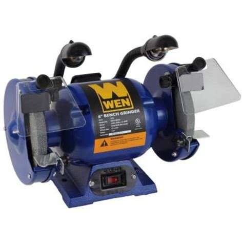 home depot bench grinder wen 6 in bench grinder with lights 4256 the home depot