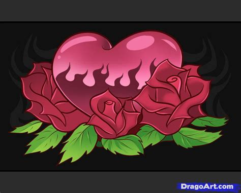 how to draw hearts and roses step by step tattoos pop
