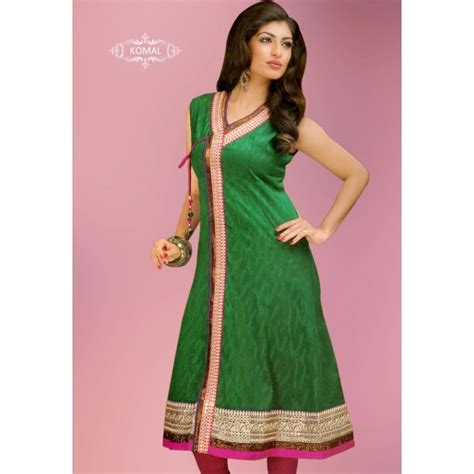 new pattern kurti image green angrakha pattern kurti party wear kurtis
