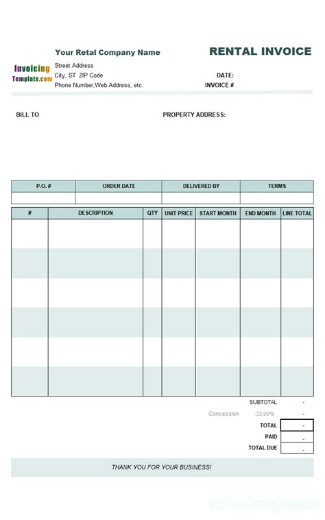 invoice template for rent rental invoicing template