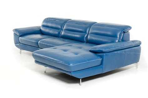 Blue Sectional Sofas by Divani Casa Hobart Modern Blue Leather Sectional Sofa