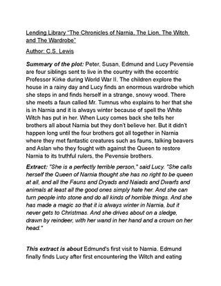 narnia extract by inaki issuu - Summary Of Narnia The The Witch And The Wardrobe