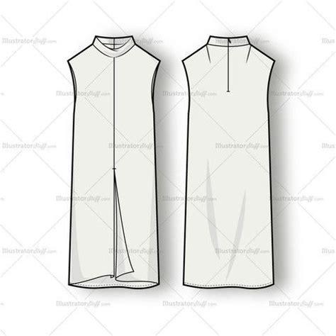 kurtis pattern vector women s sleeveless mock neck dress fashion flat template