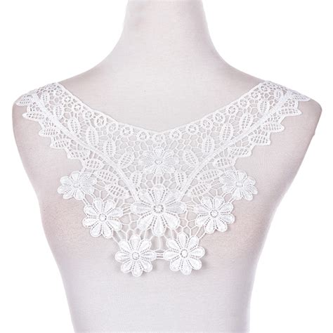 Lace Collar Import White 1 2017 1pcs 100 polyester white floral lace collar fabric trim diy embroidery lace fabric