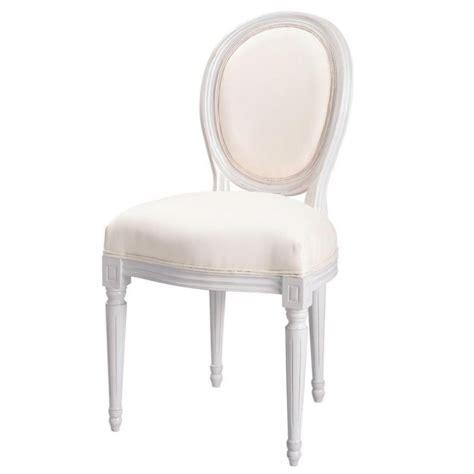 chaise m 233 daillon en coton ivoire et bois blanc louis