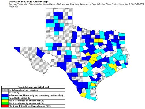 texas flu map 2013 2014 dshs flu report week 45