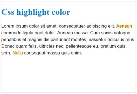 css highlight color how to highlight the text in html