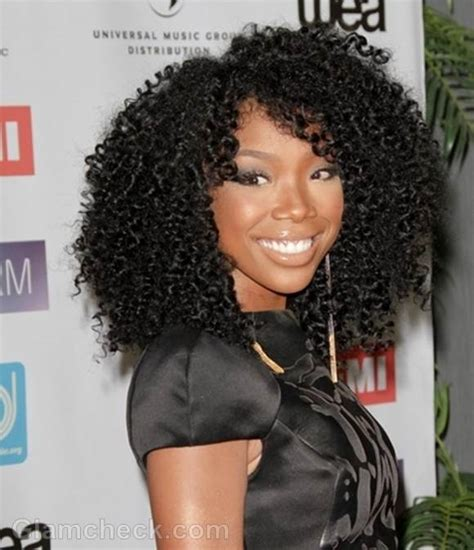 brandy old hair style photos celebrity curly hairstyles at music biz 2012 awards dinner