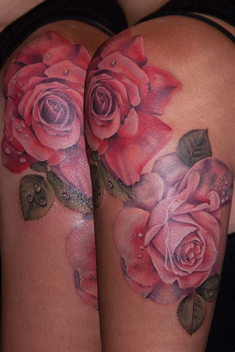 roses with dew drops by maija at kaleidoscope tattoo