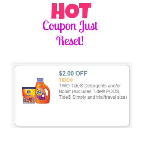 tide printable coupons 2 00 off hot 2 off tide coupon just reset mojosavings com