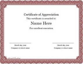 certificate of appreciation template doc word certificate template 31 free sles