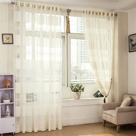 White Drapes In Living Room 1 Striped White Sheer Curtain For Living Room Tulle