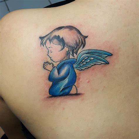 baby blue tattoo sweet praying baby on leg calf