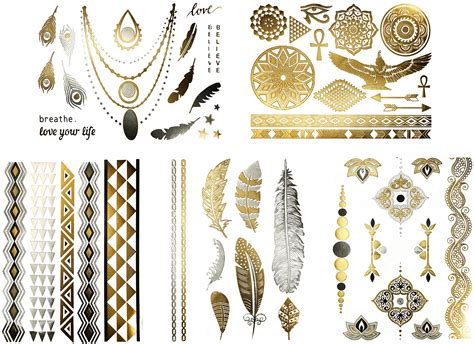 gold henna tattoo amazon 100 metallic foil sports ink temporary