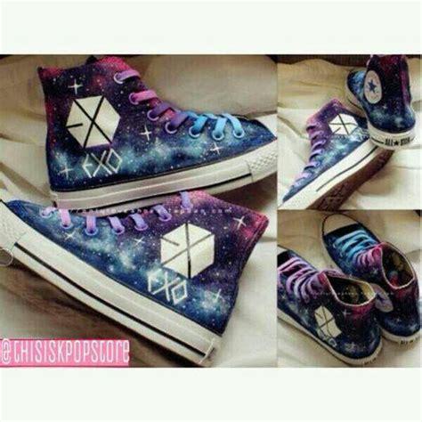Sepatu Canvas Custom Kpop Exo Galaxy exo galaxy shoes omg come into my kpop merch