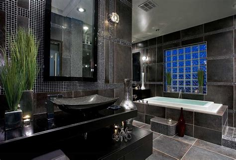 Black Bathrooms Ideas by Master Bathroom Tile Designs With Black Color Home