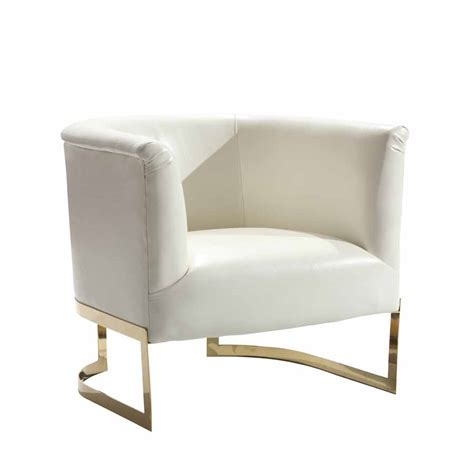 Modern Accent Chair White Bonded Leather Modern Accent Chair Gold Metal Frame