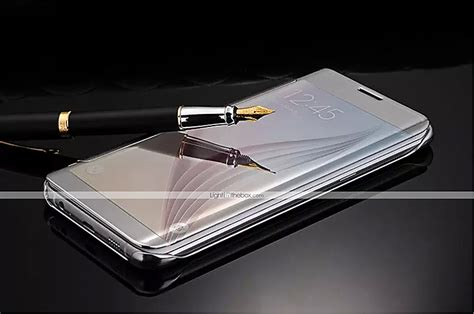 Samsung Galaxy S6 Flipcase Transparant Flip Leather Cover clear view mirror flip cover original transparent