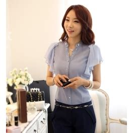Blouse Shifon Tangan Pendek Kerah Kemeja Korean Style kemeja wanita lengan pendek t1245 moro fashion