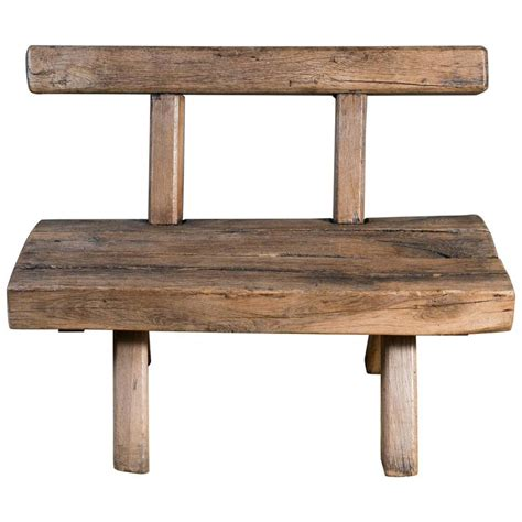 rustic wooden benches chunky rustic wooden bench with back circa 1920 at 1stdibs