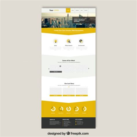 free microsite templates skyscrapers website template vector free