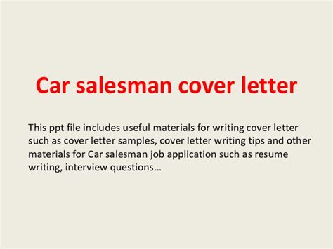 cover letter car sales car salesman cover letter