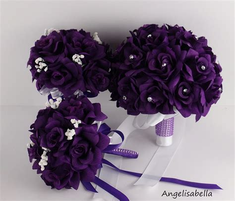 wedding bouquet usa usa seller 6pc purple wedding bouquets and boutonnieres