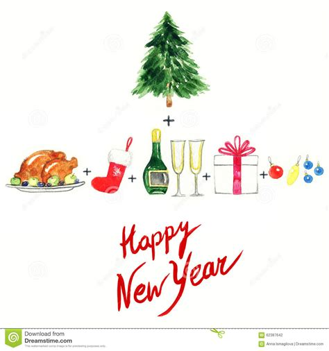 fashion illustration happy new year merry and happy new year set objects watercolor illustration stock