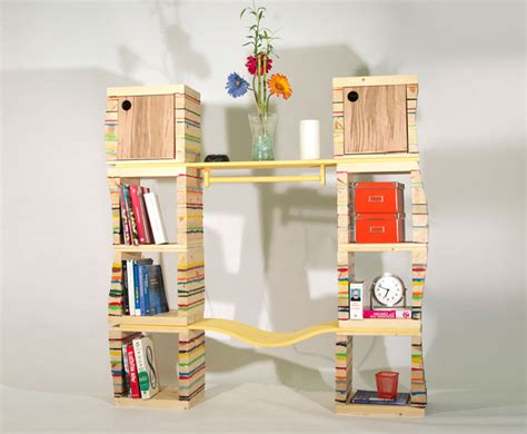 the recycled smiling bookcase is a complete storage unit