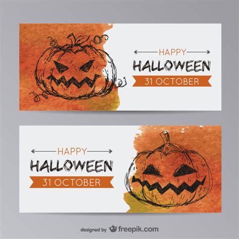 free printable halloween banner templates halloween banner templates with pumpkin vector free download