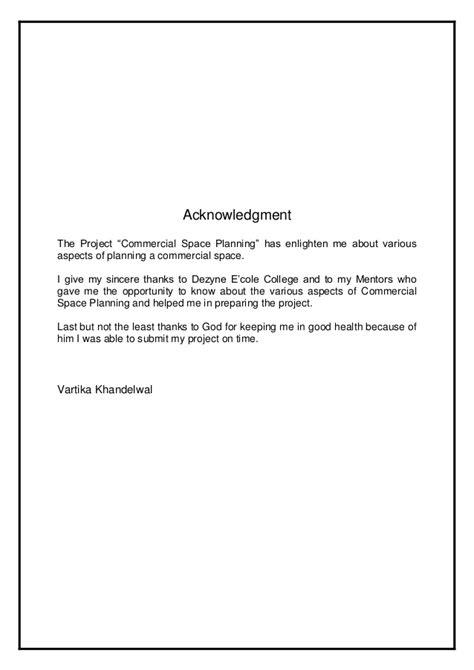 Acknowledgement Letter College Project vartika khandelwal m sc i d commercial portfolio
