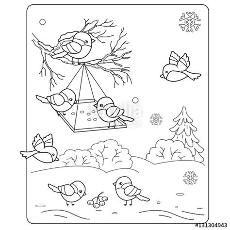 coloring pages of bird feeders quot coloring page outline of cartoon birds in the winter