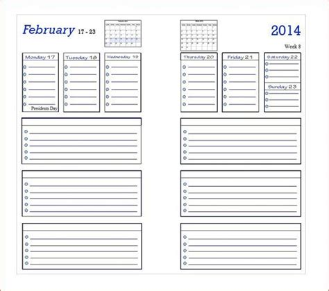 printable planner pages personal 6 best images of filofax personal size week printables