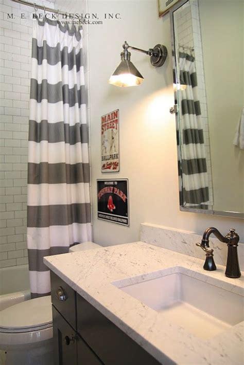 grey and white striped bathroom striped shower curtain contemporary bathroom m e