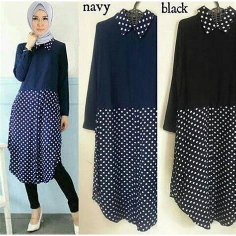 Baju Atasan Baju Rajut Nav Navy baju muslim modern tunika polka grosir baju muslim