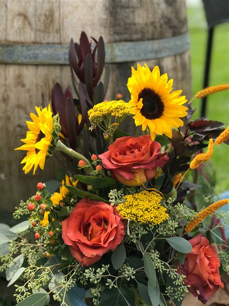 outdoor wedding full  sunflowers burgundy  perfect