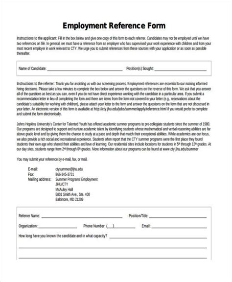 Mcgill Mba Work History Form by Free Employment Form Sles 35 Free Documents In Word Pdf