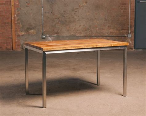 Reclaimed Wood And Steel Dining Table Reclaimed Wood Table With Stainless Steel Base Rustic Dining Tables Chicago By