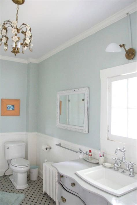 bm bathroom mirror and wall color for guest bath bm palladian blue