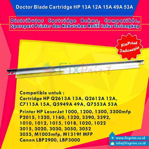 Doctor Blade 13a Q2613a For Use In Laserjet Printer H Berkualitas jual doctor blade cartridge hp 12a q2612a 13a q2613a 15a c7115a 49a q5949a 53a q7553a hp