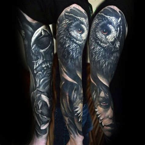 owl tattoo portrait 50 owl sleeve tattoos for men nocturnal bird design ideas