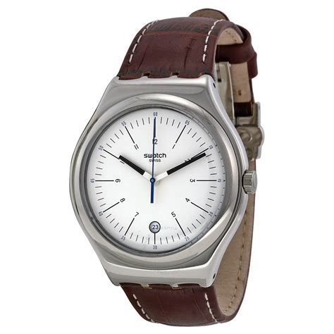 swatch irony watches swatch appia silver dial brown leather men s watch yws401