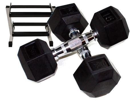 Rubber Hex Dumbbell Set With Rack by 5 25lb Rubber Hex Dumbbell Set With Rack