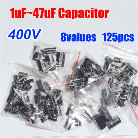 Kapasitor 40 Uf 1 5 Uf 400 Vac free shipping 8values total 125pcs 400v aluminum electrolytic capacitor assortment kit 1uf 47uf