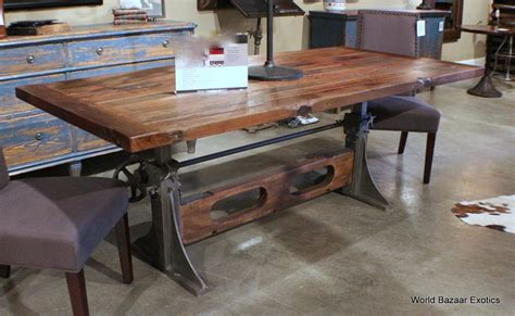industrial crank table base 84 quot l crank dining table industrial design wood top