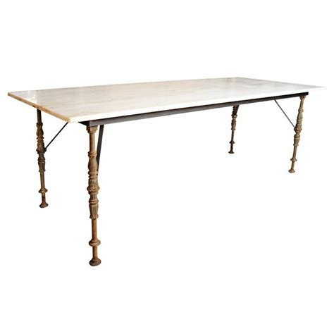 villa dining tables marble top and metal leg marble top dining table usa 20th century metal base dining table made from antique metal legs