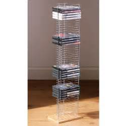 Bookcase Cube Storage 50 Dvd Holder Storage Tower Rack Chrome Wood Base Free