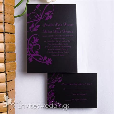 Cheap Wedding Invitations Black by Affordable Purplr In Black Wedding Invitation Cheap