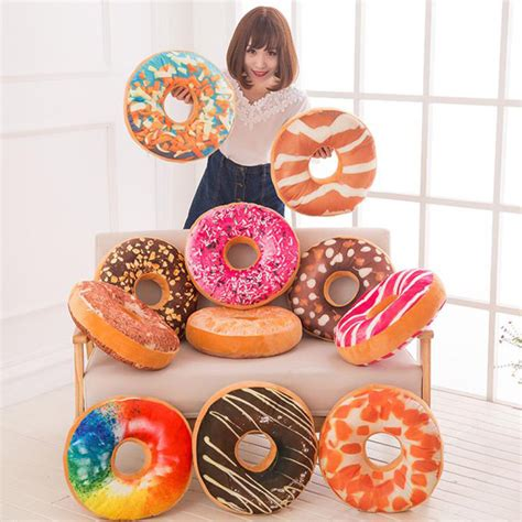 Doughnut Shaped Pillow by 13patterns Colorful Doughnut Shaped Ring Plush Soft
